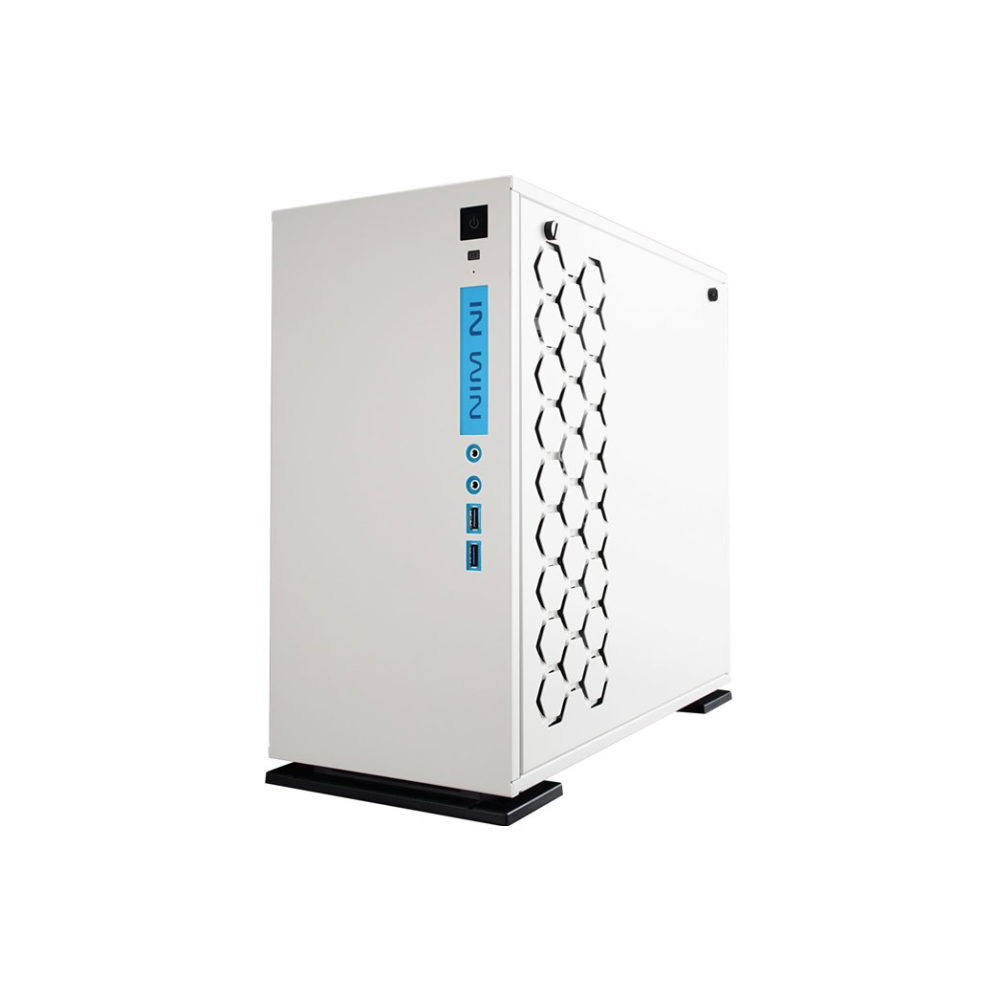 A large main feature product image of InWin 301 White mATX Tower Case w/ Tempered Glass Side Panel