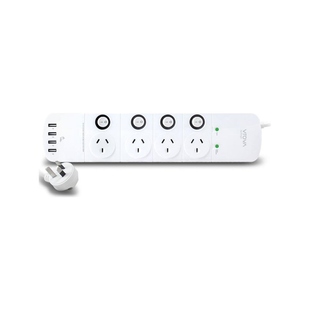 A large main feature product image of ALOGIC 4 Outlet Power Board with Switches & 4 USB Ports (4.5A Current)-Surge & Overload Protection