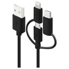 A product image of ALOGIC 3-in-1 Charge & Sync Cable - Micro USB + Lightning + USB Type-C Black 30cm