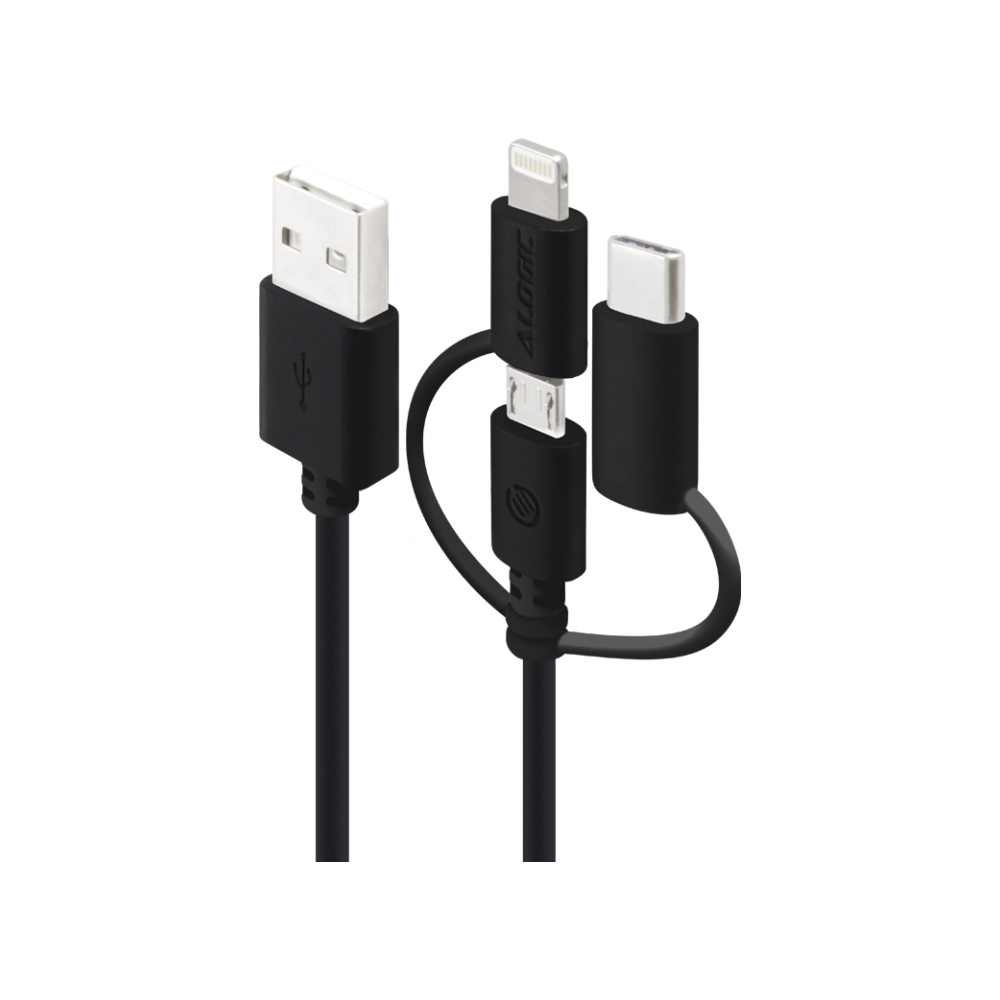 A large main feature product image of ALOGIC 3-in-1 Charge & Sync Cable - Micro USB + Lightning + USB Type-C Black 30cm