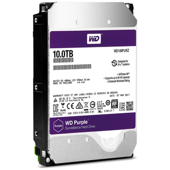 """Product image of WD Purple WD100PURZ 3.5"""" 10TB 256MB Surveillance HDD - Click for product page of WD Purple WD100PURZ 3.5"""" 10TB 256MB Surveillance HDD"""