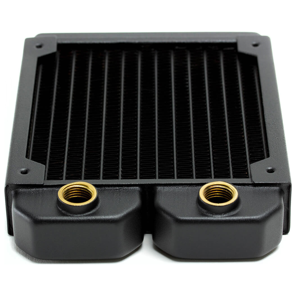 A large main feature product image of PrimoChill 120mm EximoSX Slim Radiator - Black