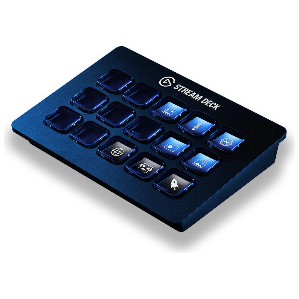 A large main feature product image of Elgato Stream Deck