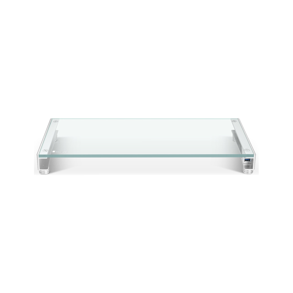 A large main feature product image of Jonsbo GA-01 Tempered Glass Monitor Stand with USB Charging