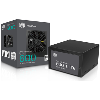 Product image of Cooler Master MasterWatt Lite 600W 80PLUS White Power Supply - Click for product page of Cooler Master MasterWatt Lite 600W 80PLUS White Power Supply