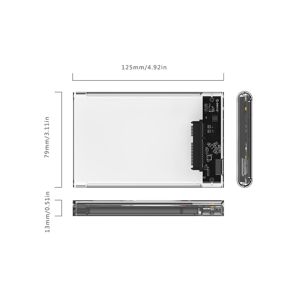 """A large main feature product image of ORICO USB3.0 2.5"""" External HDD Enclosure Clear"""