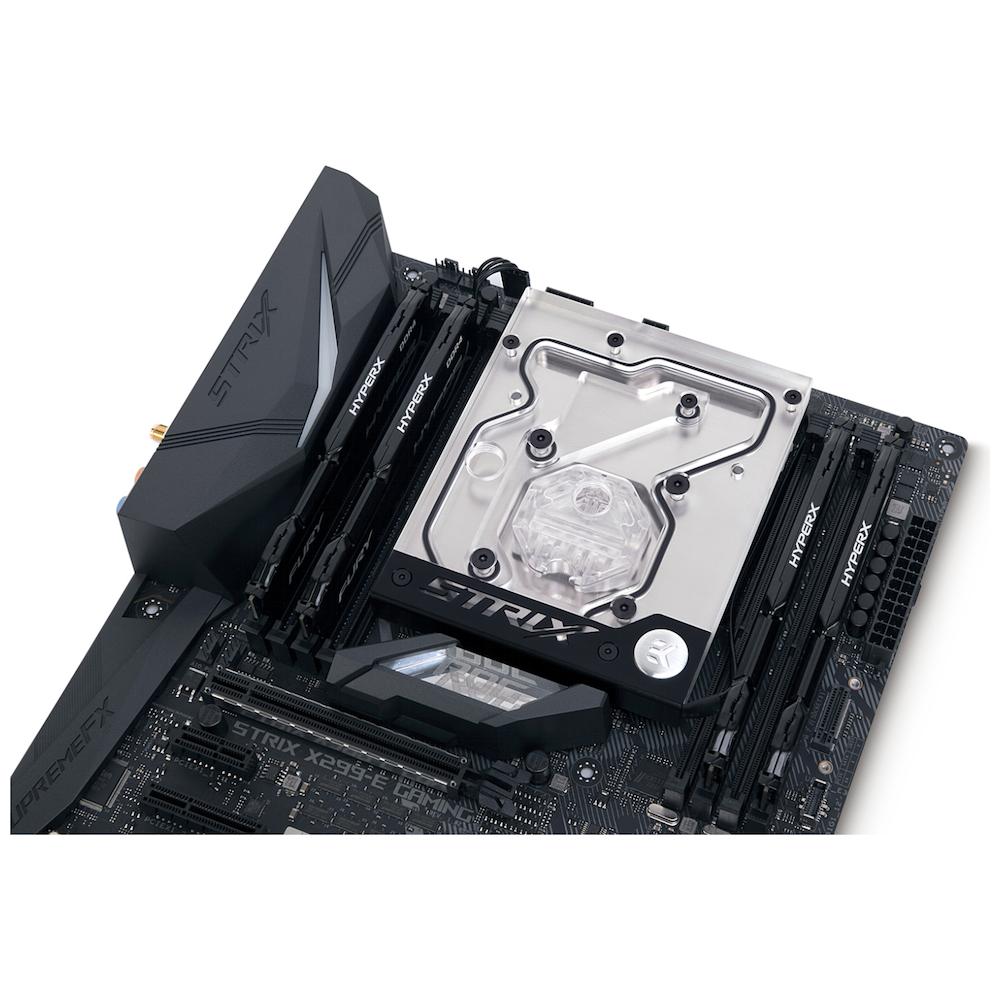 A large main feature product image of EK FB ASUS X299-E RGB Monoblock - Nickel