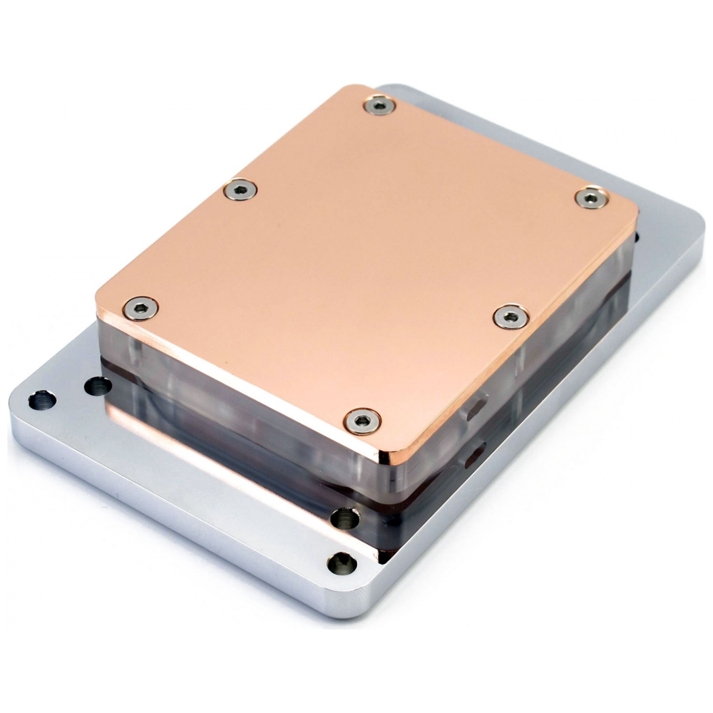 A large main feature product image of XSPC Raystorm Neo (AMD sTR4) CPU Waterblock - Chrome