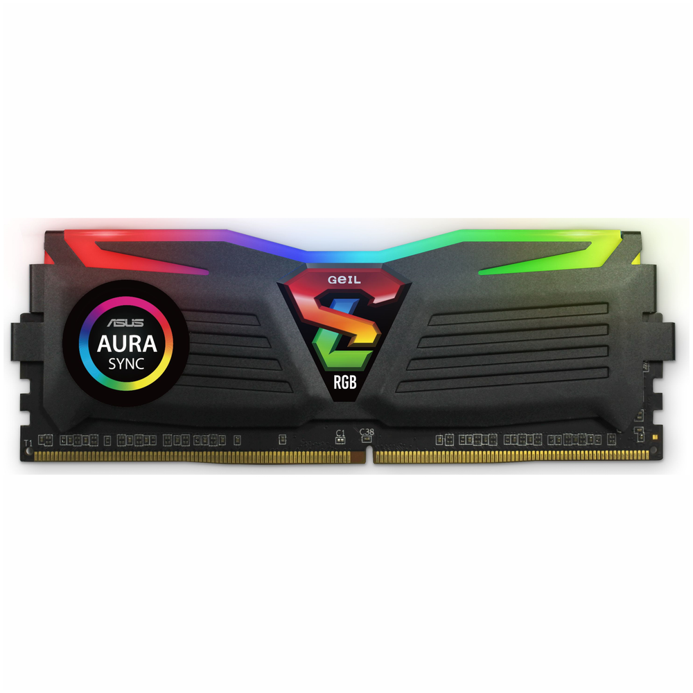A large main feature product image of GeIL 16GB Kit (2x8GB) DDR4 SUPER LUCE RGB SYNC C16 3000MHz