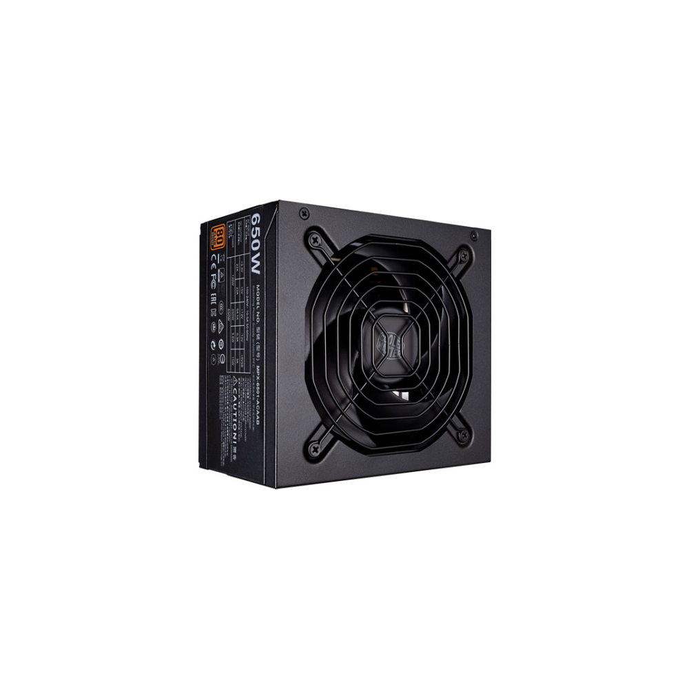 A large main feature product image of Cooler Master MWE 650W 80PLUS Bronze Power Supply