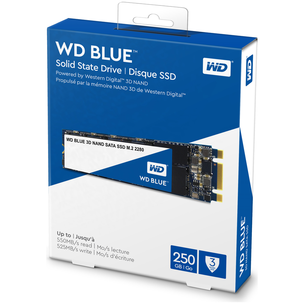 A large main feature product image of WD Blue 250GB 3D NAND M.2 SSD