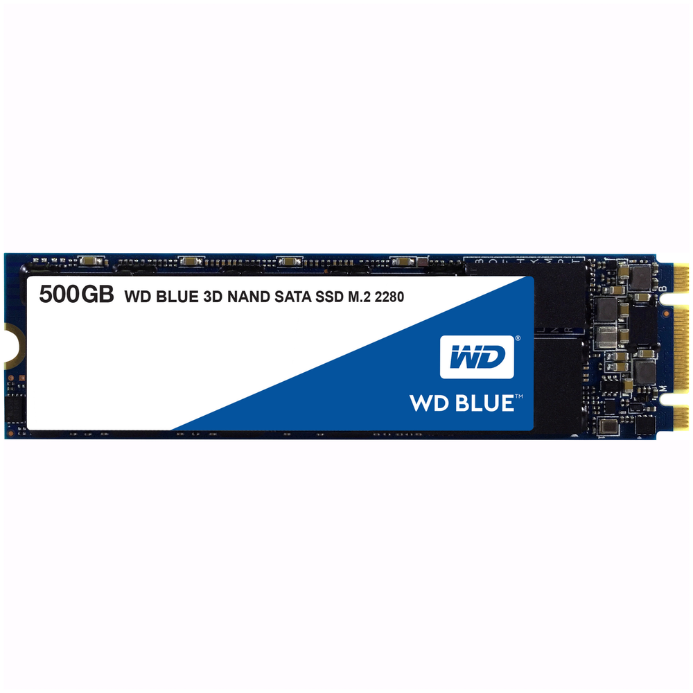 A large main feature product image of WD Blue 500GB 3D NAND M.2 SSD