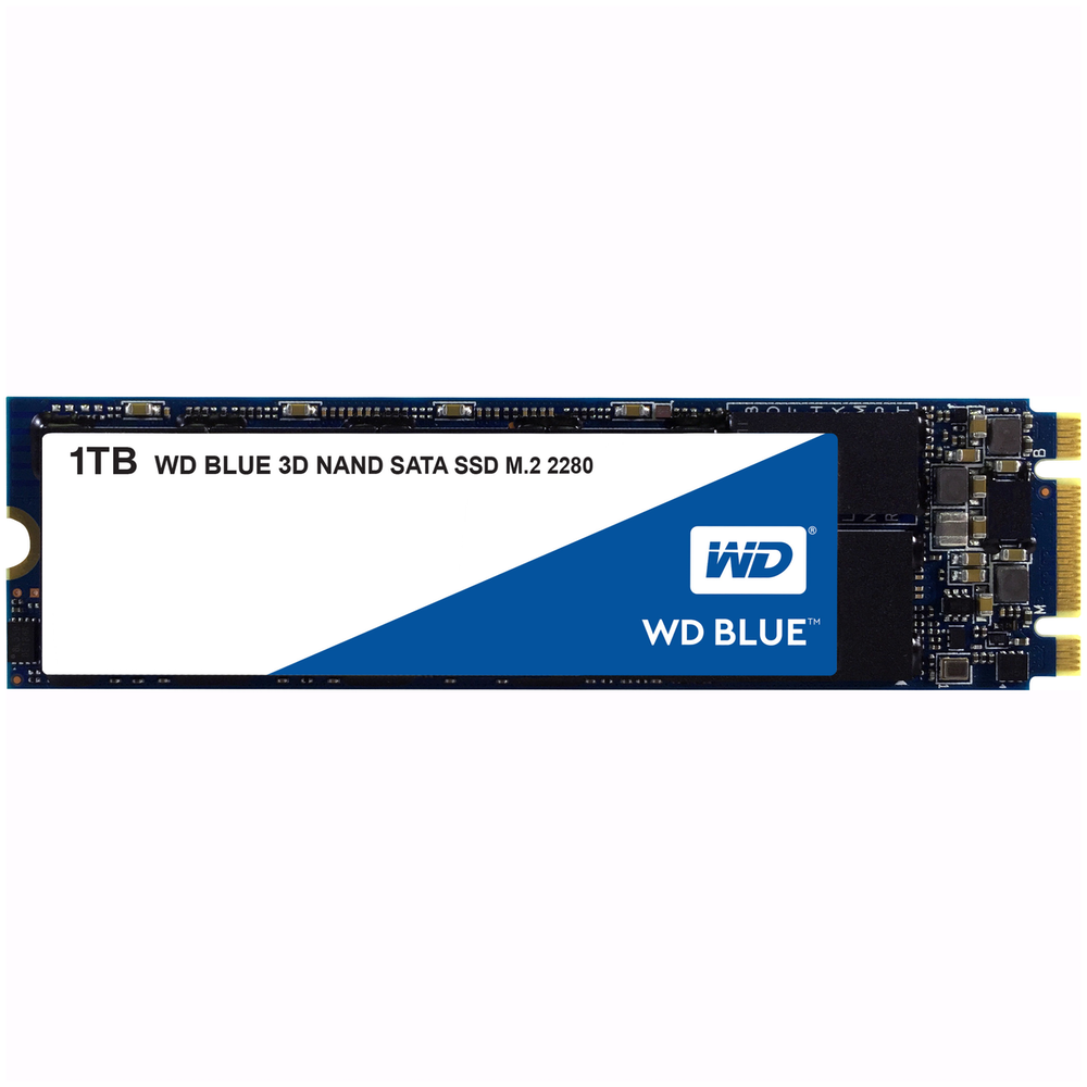 A large main feature product image of WD Blue 1TB 3D NAND M.2 SSD