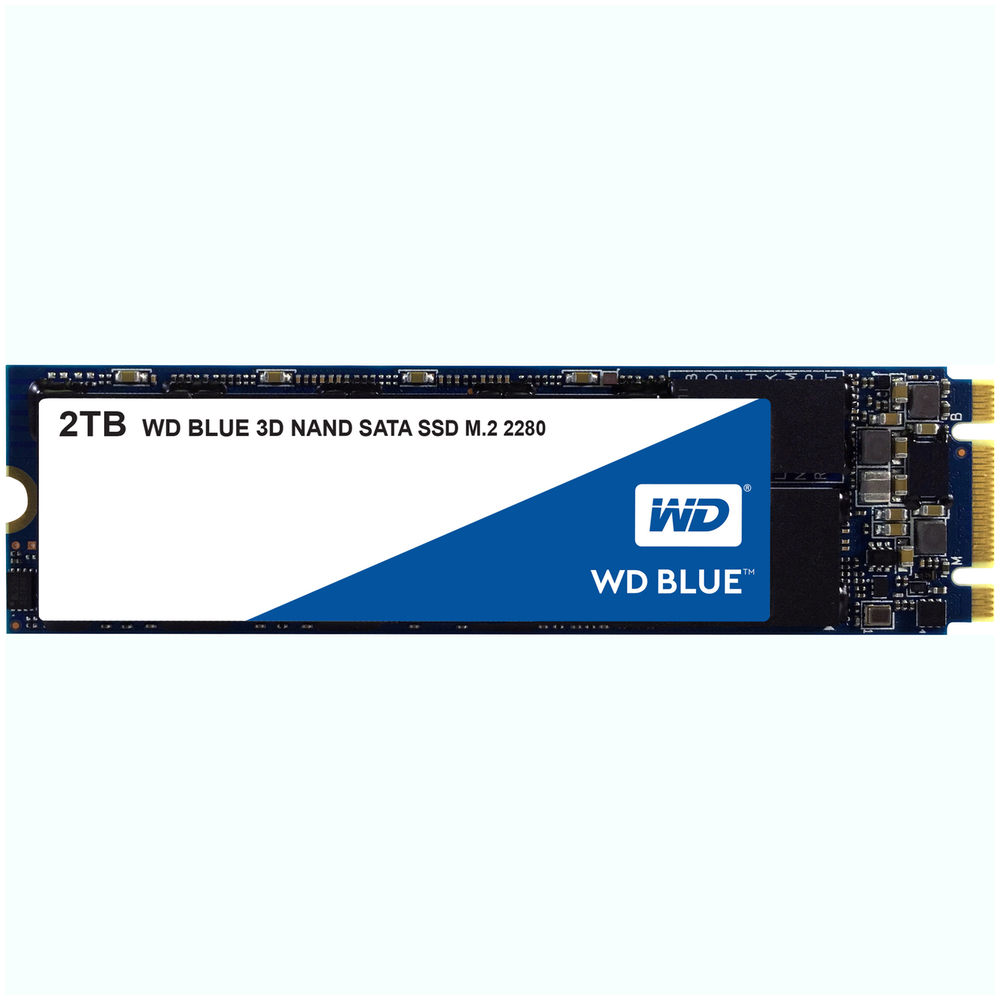 A large main feature product image of WD Blue 2TB 3D NAND M.2 SSD