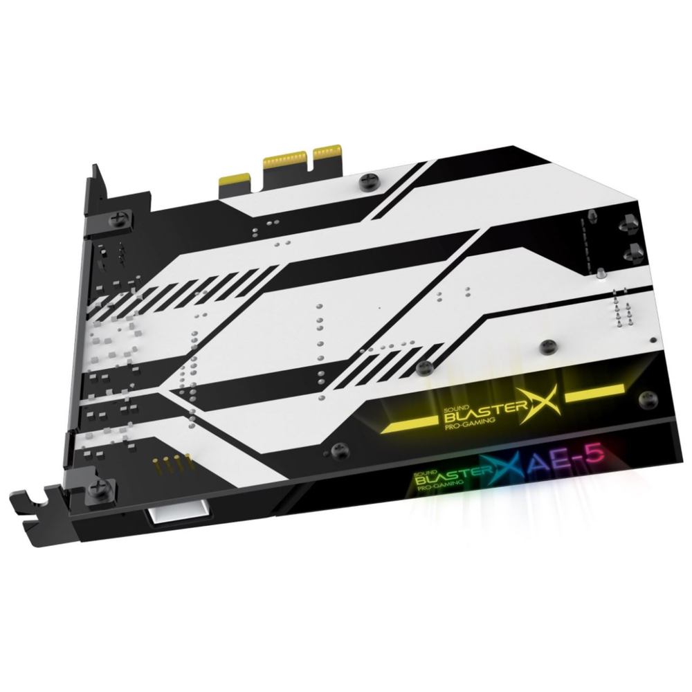 A large main feature product image of Creative Sound BlasterX AE-5 Hi-Res 5.1 Gaming Sound Card