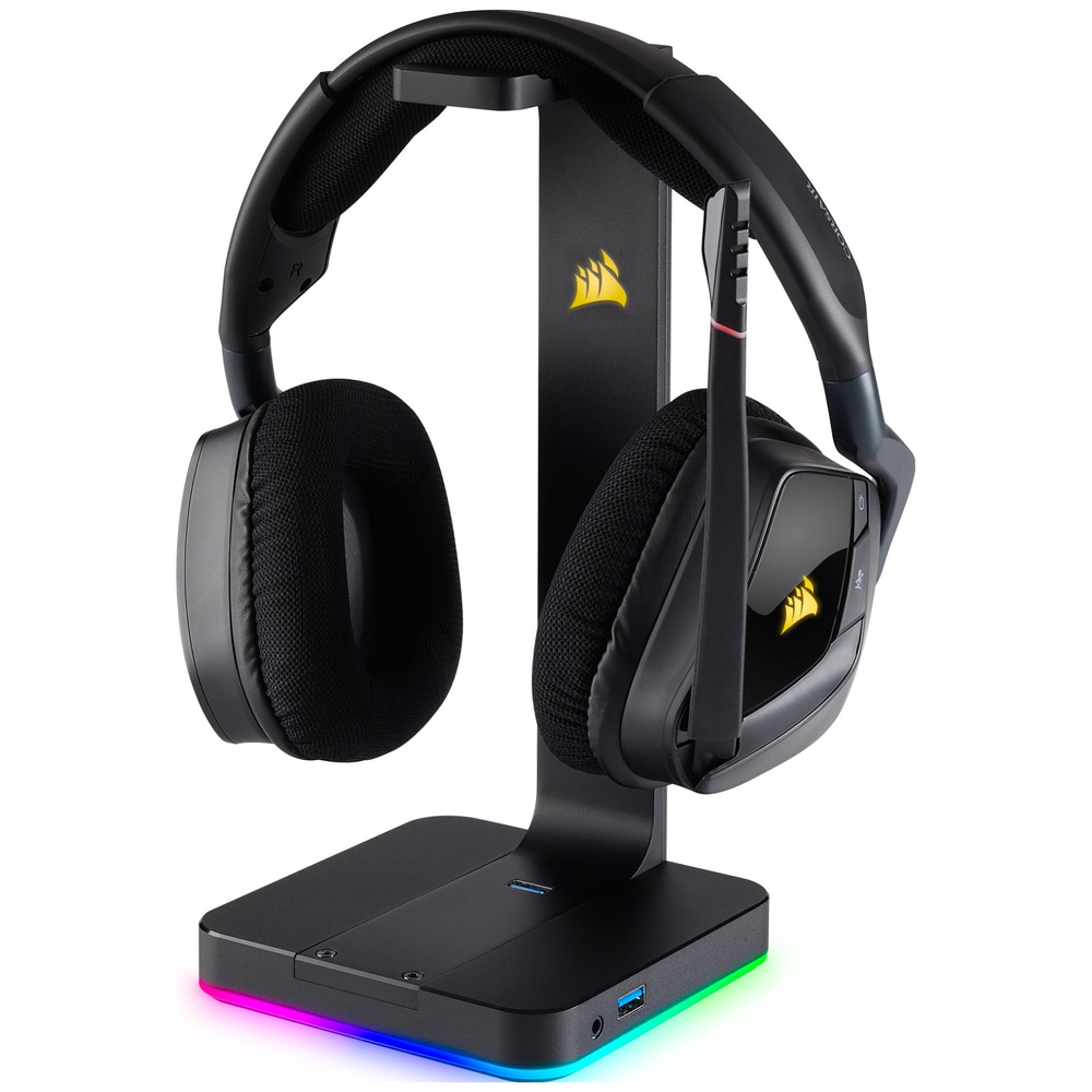 A large main feature product image of Corsair ST100 RGB Premium Headset Stand
