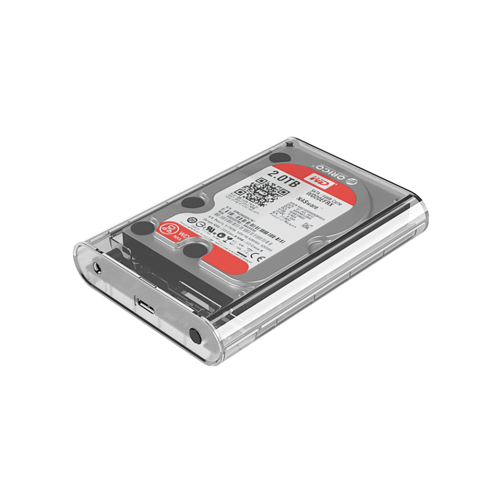 A large main feature product image of ORICO 3.5in External Hard Drive Enclosure - Clear