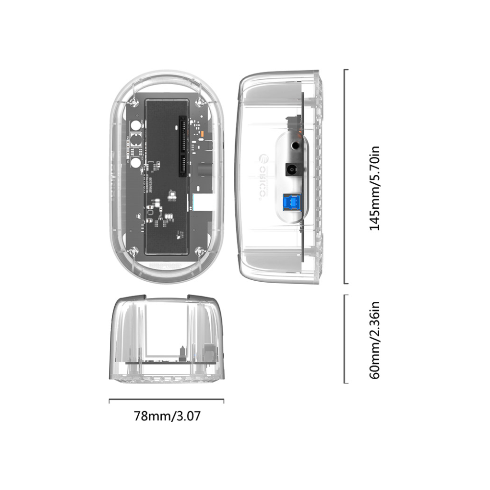 A large main feature product image of ORICO 2.5/3.5in USB3.0 Hard Drive Dock - Clear
