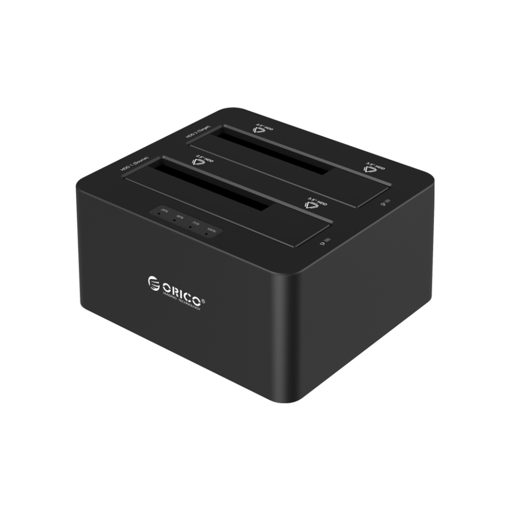 A large main feature product image of ORICO Dual Bay SATA to USB3.0 External Hard Drive Docking Station with Duplicator/Clone Function