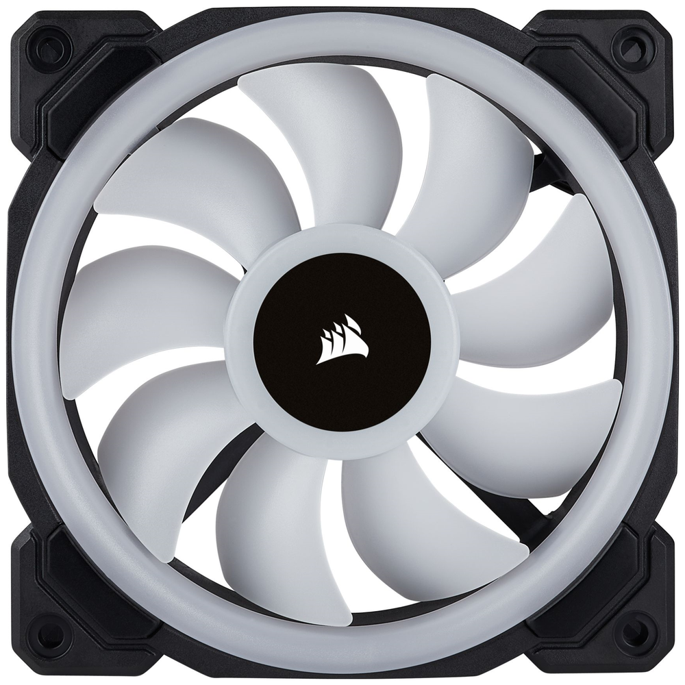 A large main feature product image of Corsair LL120 120mm RGB PWM Fan