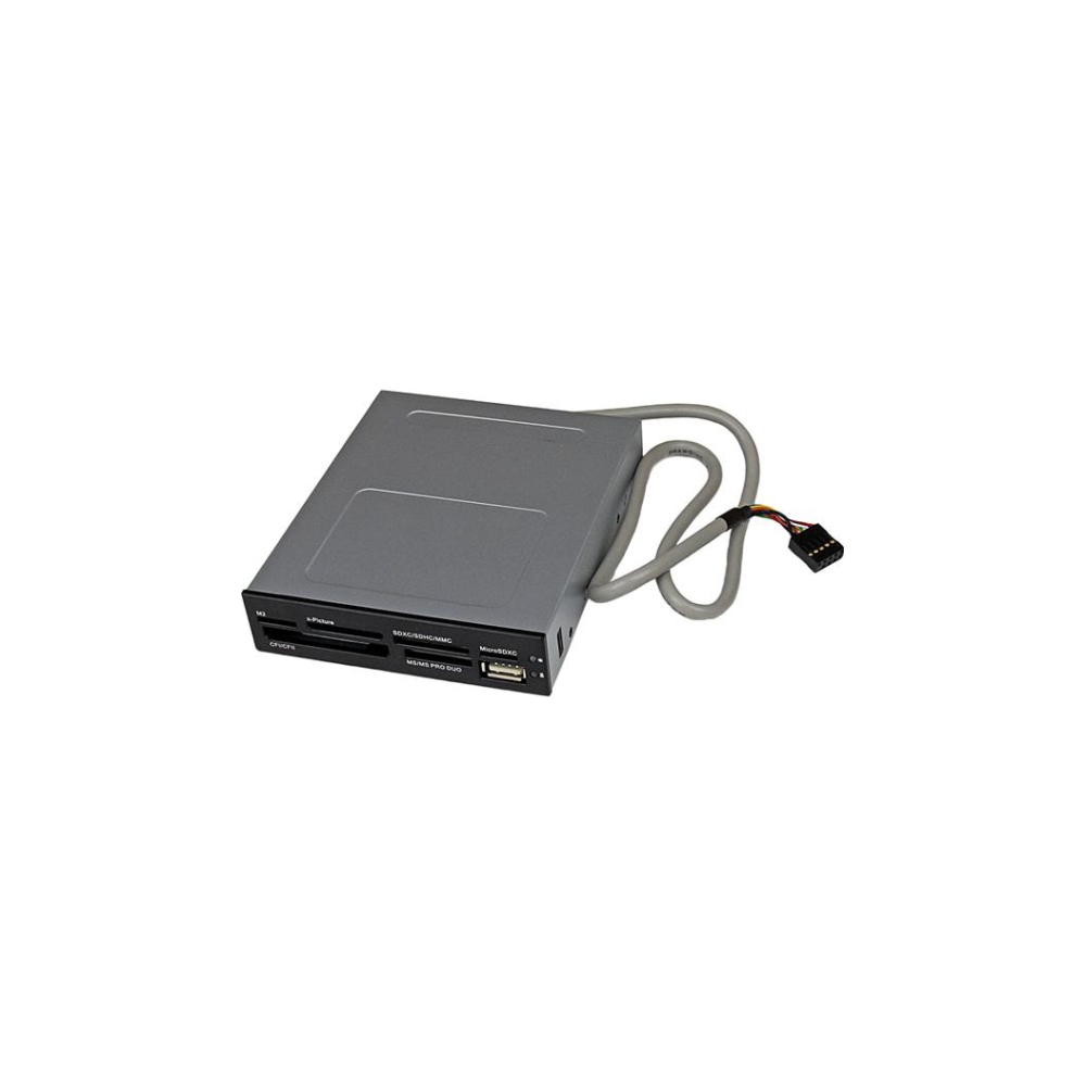 A large main feature product image of Startech 3.5in Front Bay USB 2.0 Multi Media Memory Card Reader Black