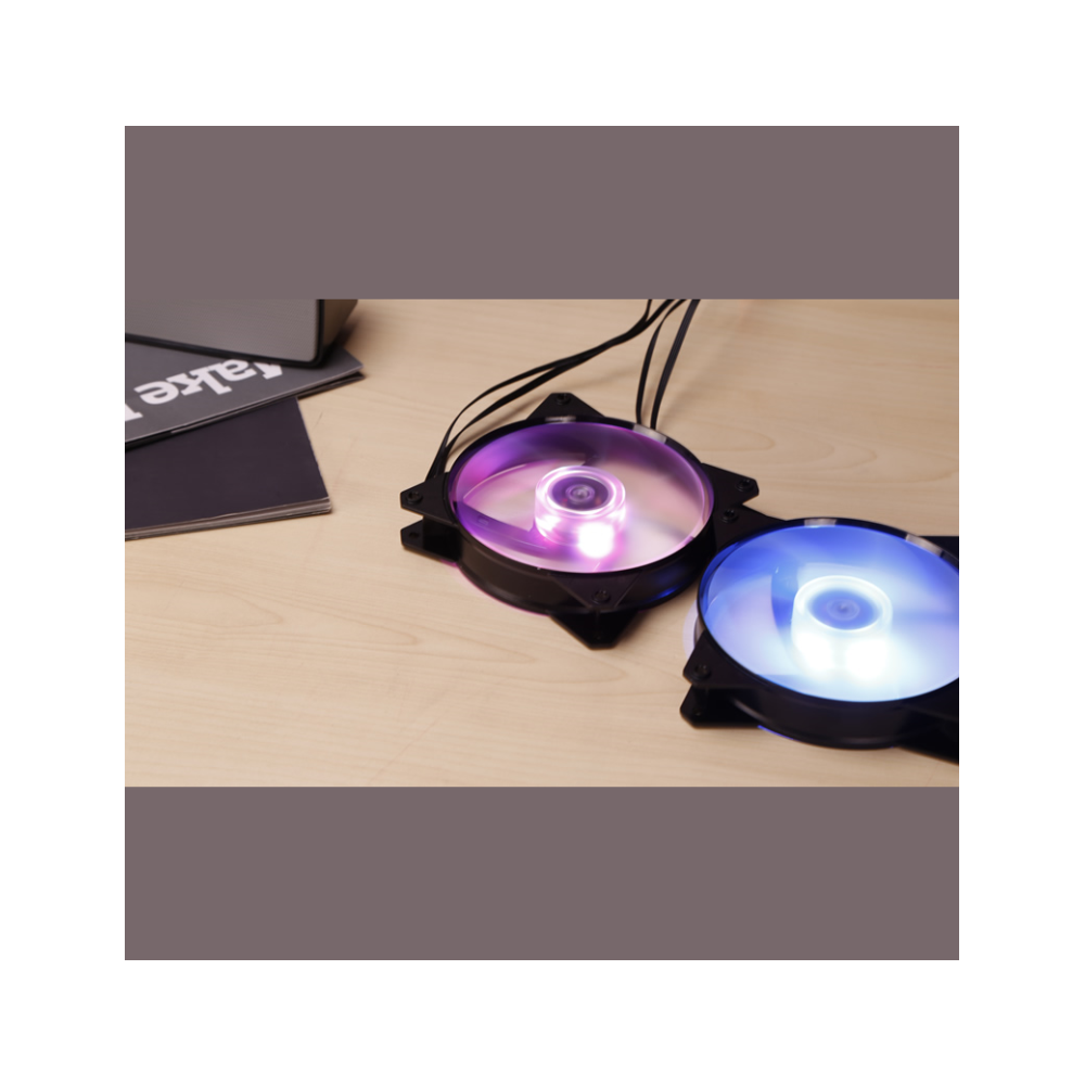 A large main feature product image of Cooler Master MasterFan Lite MF120L 120mm Blue LED Fan