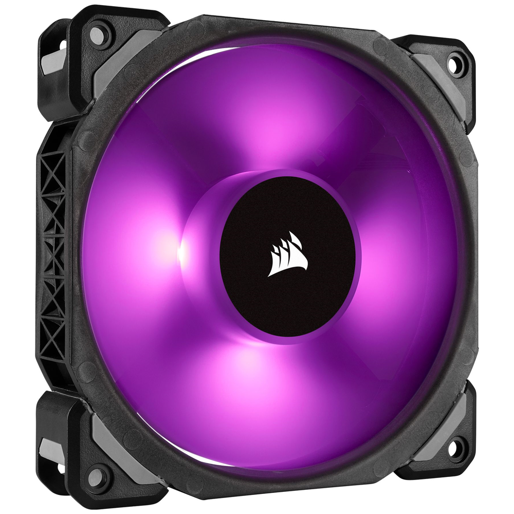 A large main feature product image of Corsair ML120 Pro 120mm Mag-Lev RGB PWM Cooling Fan
