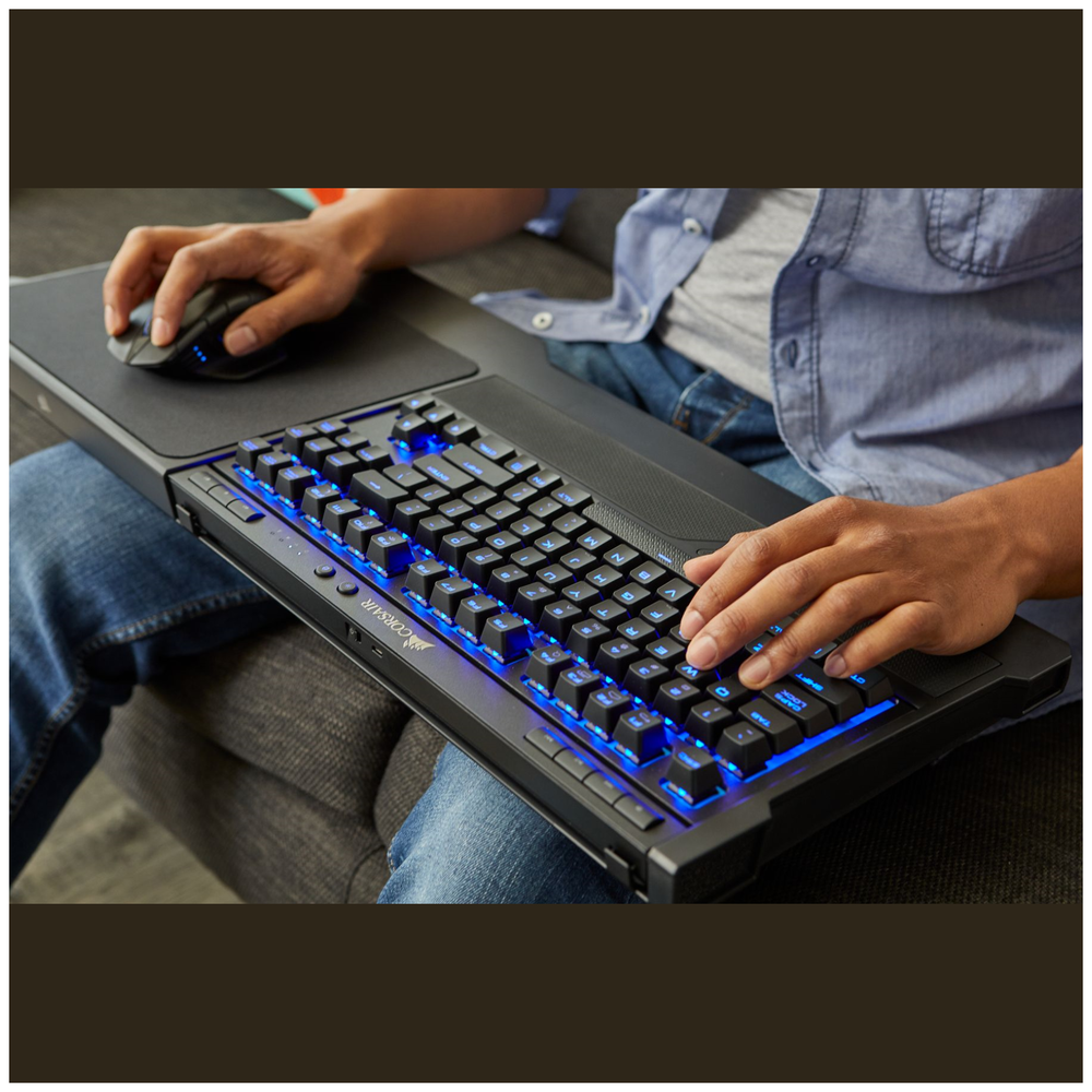 A large main feature product image of Corsair Gaming K63 Wireless Lapboard