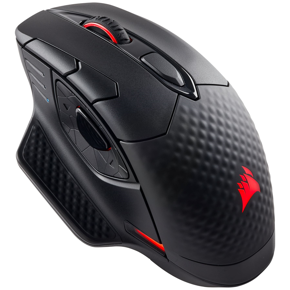 A large main feature product image of Corsair Gaming Dark Core RGB Wireless Optical Gaming Mouse