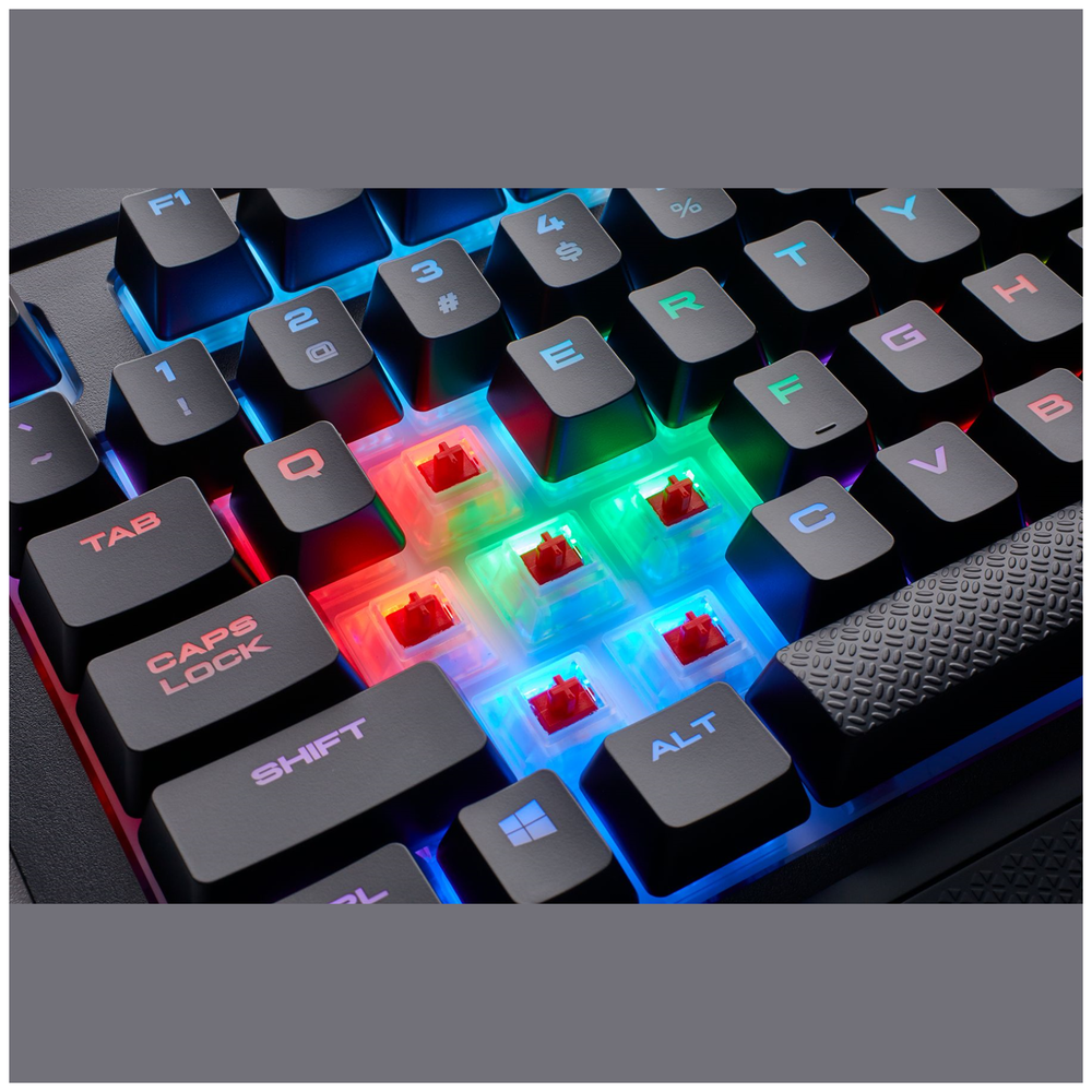 A large main feature product image of Corsair Gaming K68 RGB Mechanical Keyboard (MX Red Switch)