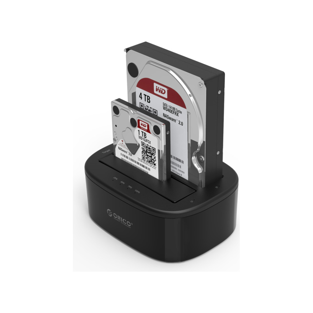 A large main feature product image of ORICO 2.5/3.5in USB3.0 1 to 1 Clone Dual-bay HDD and SSD Hard Drive Dock