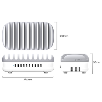 Product image of ORICO 120W 10 Ports USB Smart Charging Station with Phone & Tablet Stand - White - Click for product page of ORICO 120W 10 Ports USB Smart Charging Station with Phone & Tablet Stand - White