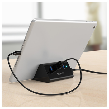 Product image of ORICO 4 Port USB3.0 HUB with Phone & Tablet Stand Black - Click for product page of ORICO 4 Port USB3.0 HUB with Phone & Tablet Stand Black