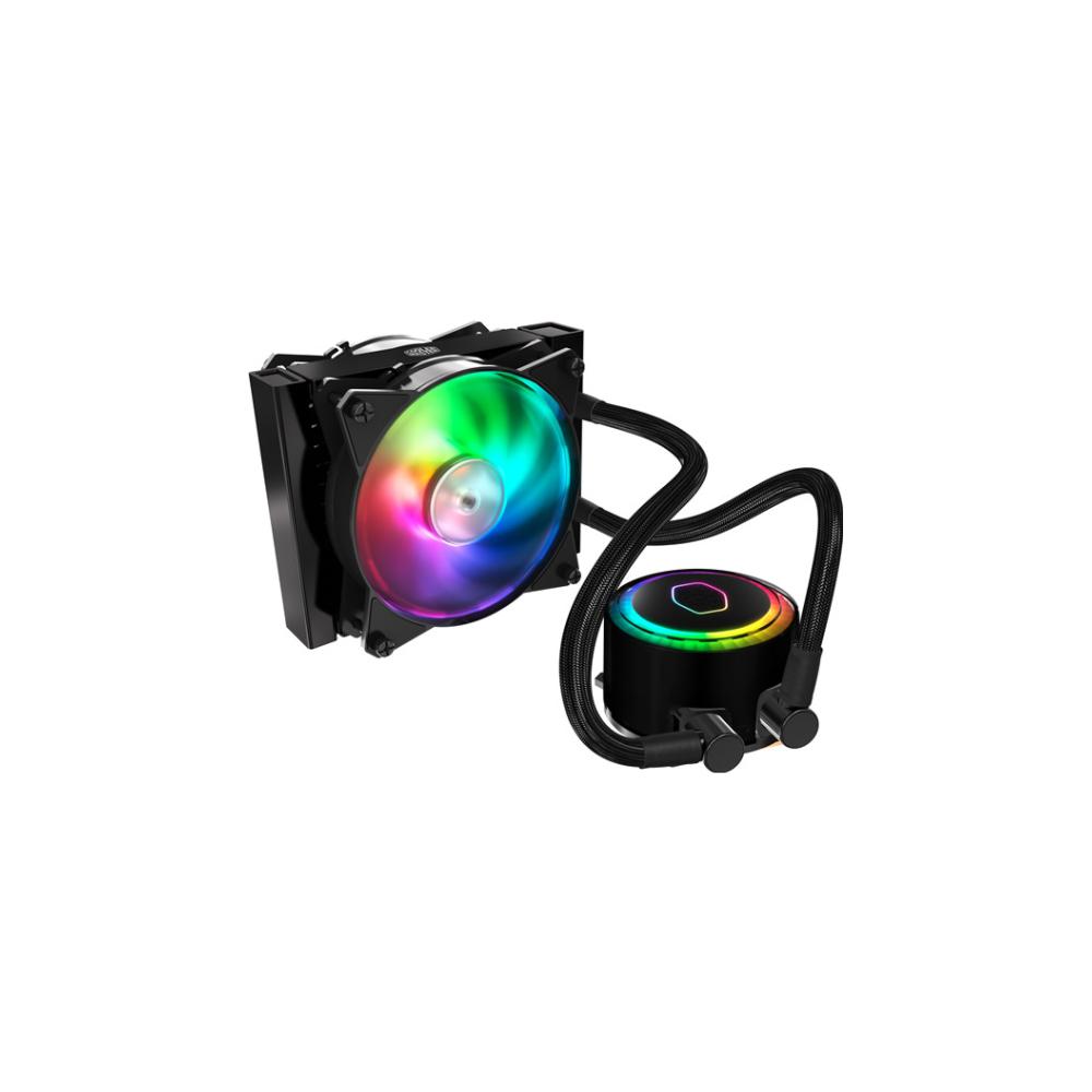A large main feature product image of Cooler Master MasterLiquid ML120R Addressable RGB AIO Liquid Cooler