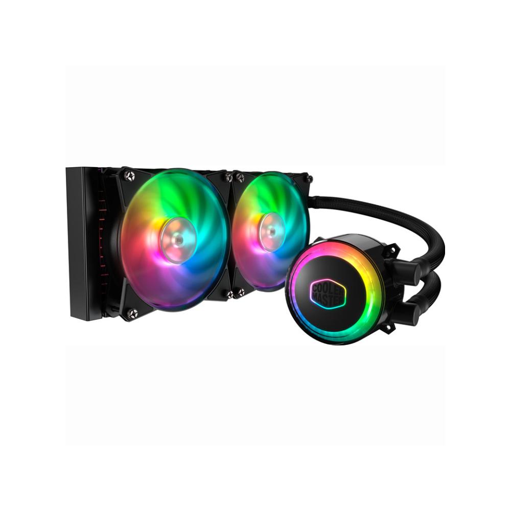 A large main feature product image of Cooler Master MasterLiquid ML240R Addressable RGB AIO Liquid Cooler