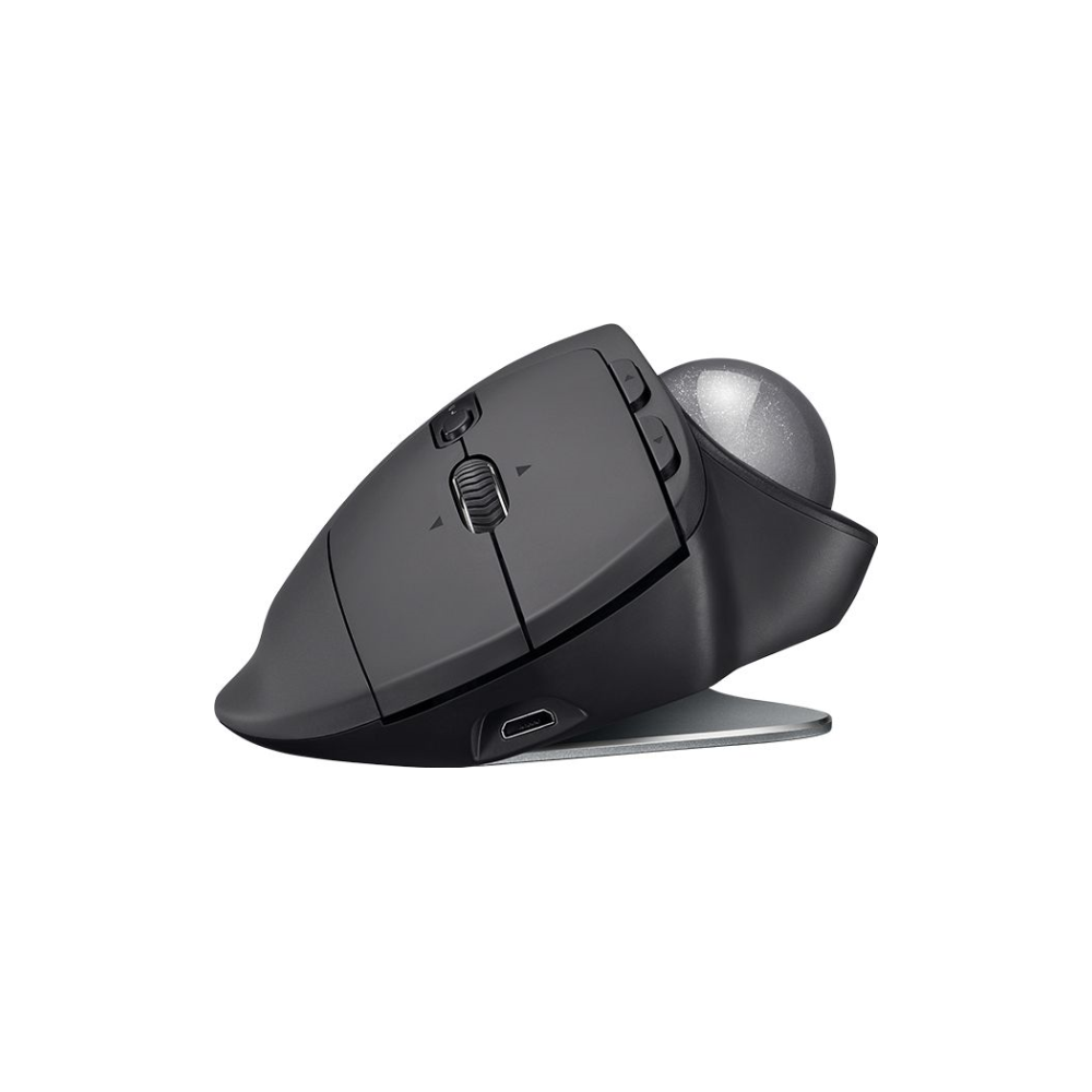 A large main feature product image of Logitech MX Ergo Wireless Trackball Mouse