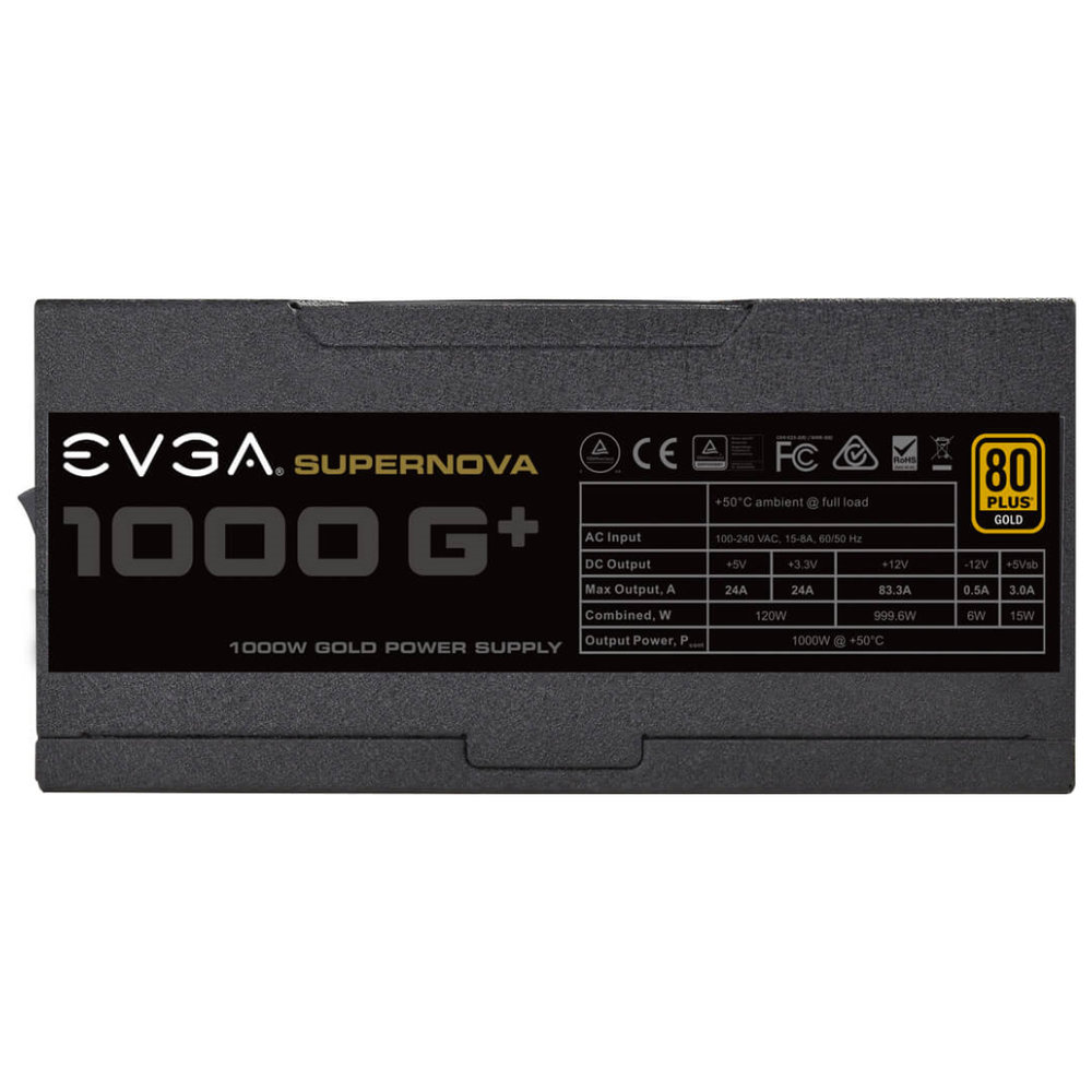 A large main feature product image of eVGA SuperNOVA G1+ 1000W Fully Modular 80PLUS Gold Power Supply