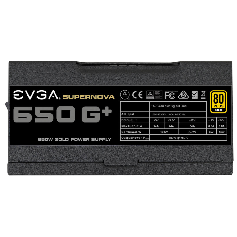 A large main feature product image of eVGA SuperNOVA G1+ 650W Fully Modular 80PLUS Gold Power Supply