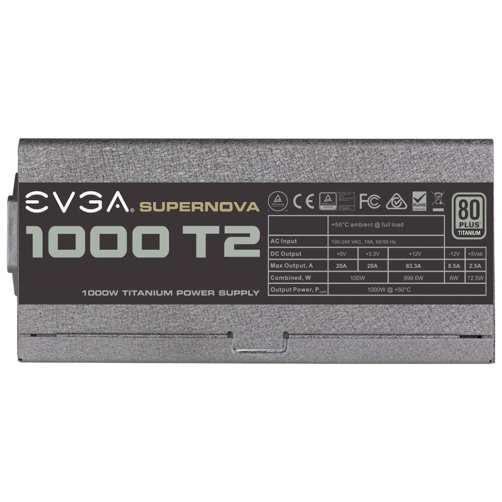 A large main feature product image of eVGA SuperNOVA T2 1000W 80PLUS Titanium Power Supply
