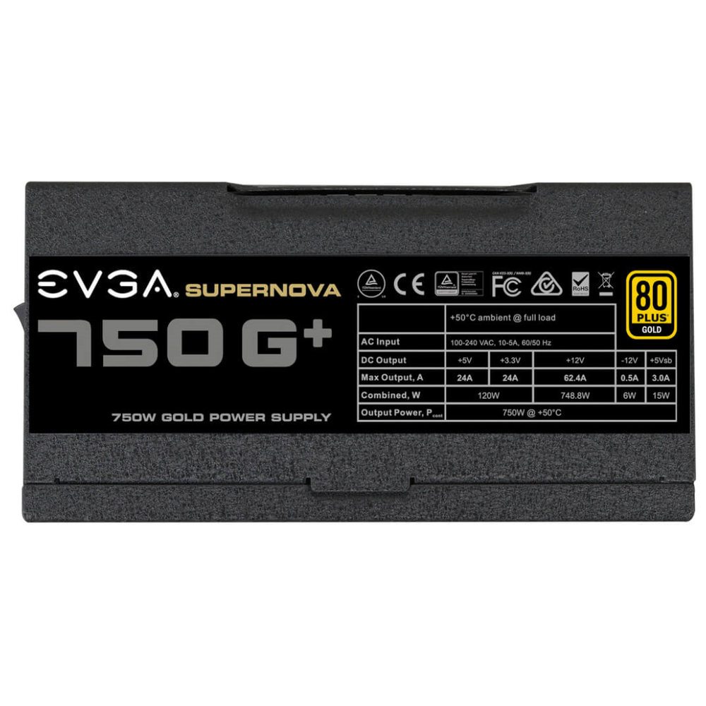 A large main feature product image of eVGA SuperNOVA G1+ 750W Fully Modular 80PLUS Gold Power Supply