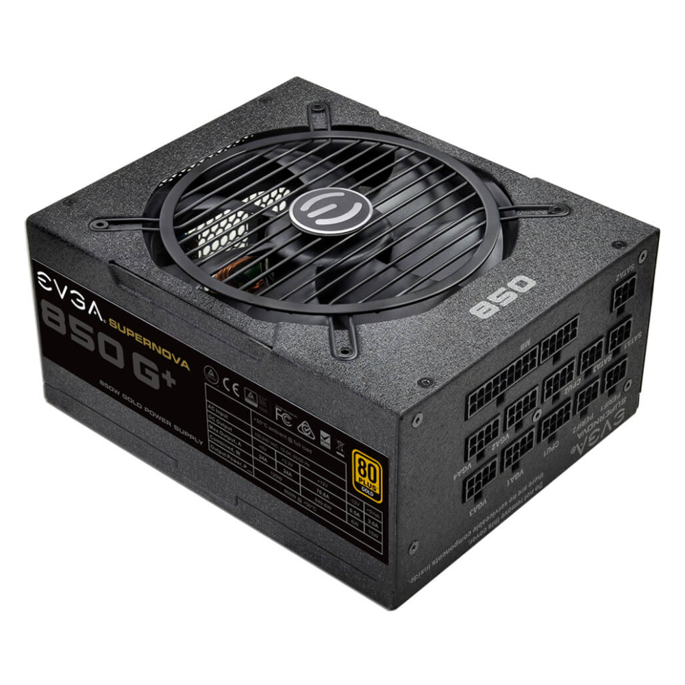 A large main feature product image of eVGA SuperNOVA G1+ 850W Fully Modular 80PLUS Gold Power Supply