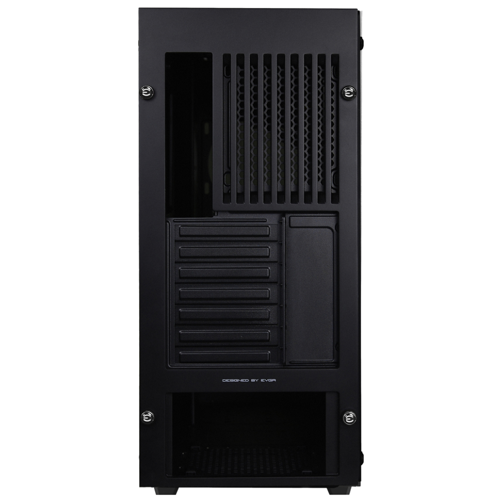 A large main feature product image of eVGA DG-76 Matte Black w/ Tempered Glass RGB Mid Tower Case