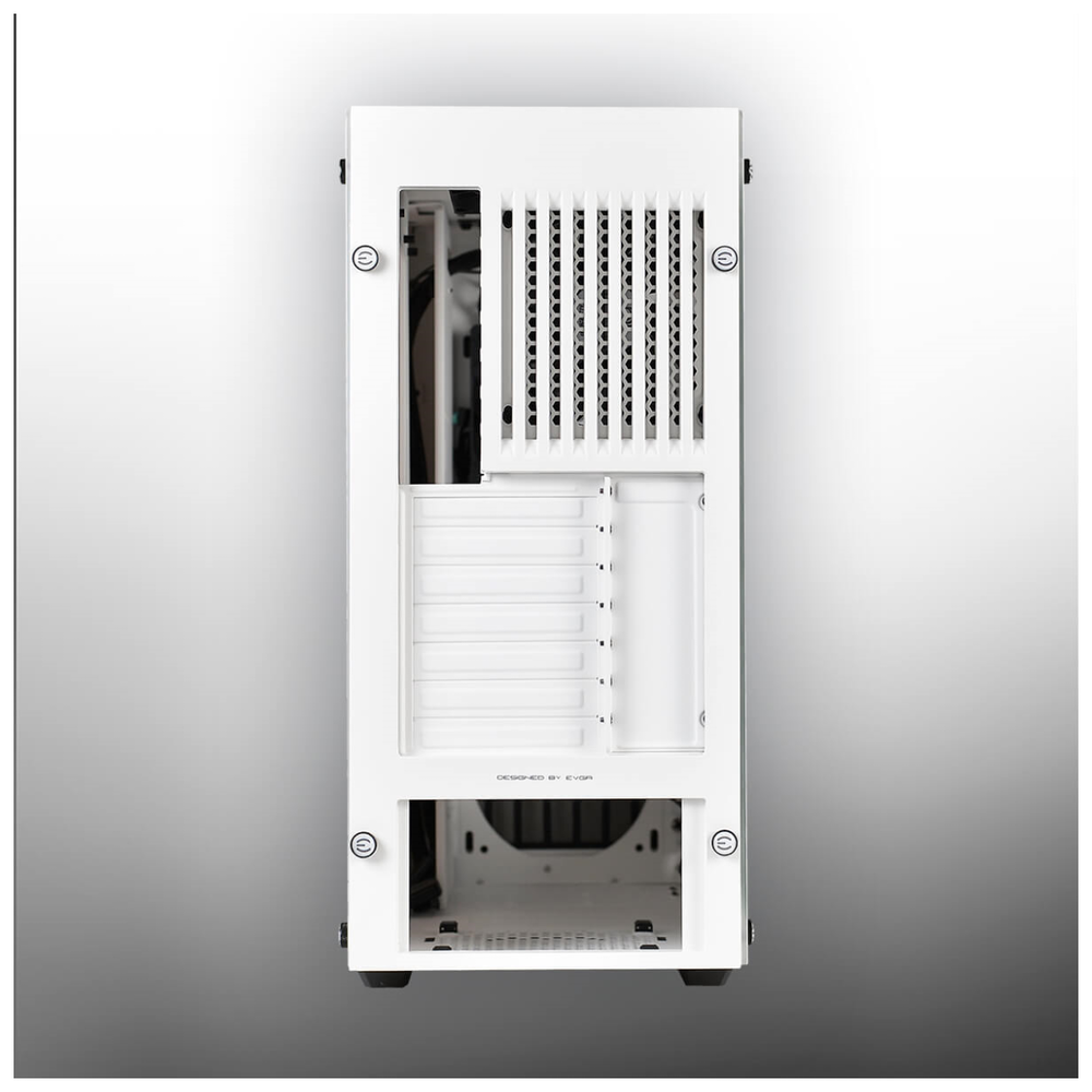A large main feature product image of eVGA DG-77 Alpine White w/ Tempered Glass RGB Mid Tower
