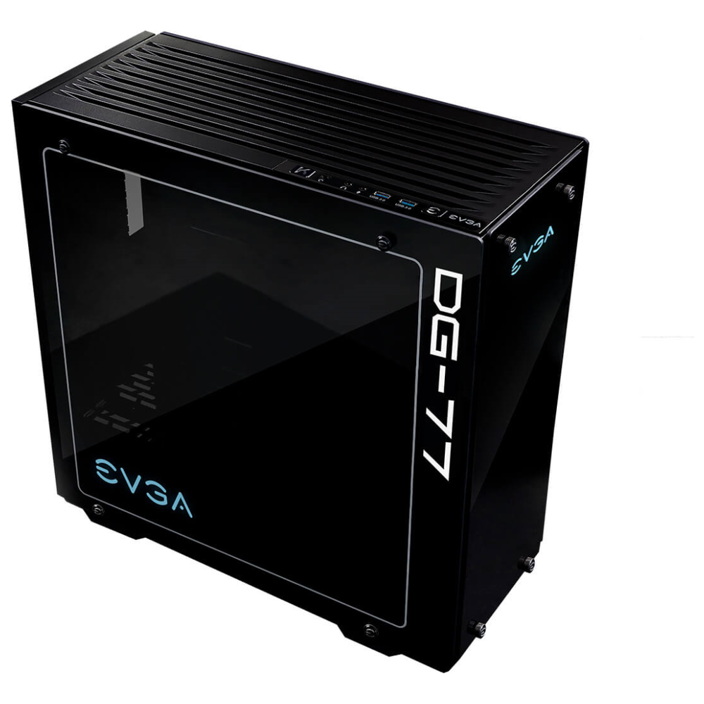 A large main feature product image of eVGA DG-77 Matte Black w/ Tempered Glass RGB Mid Tower