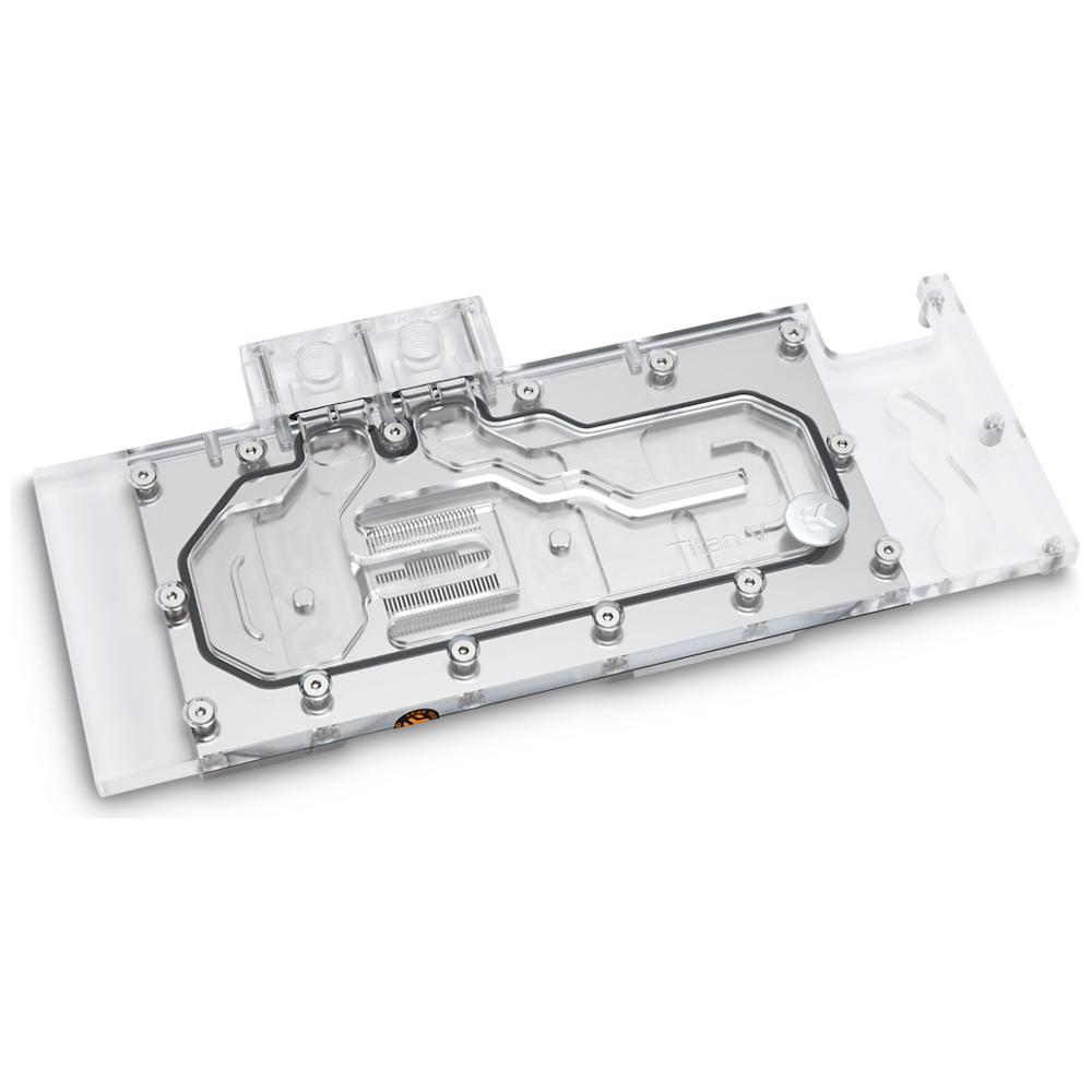 A large main feature product image of EK FC Titan V Plexi/Nickel Nvidia GPU Waterblock