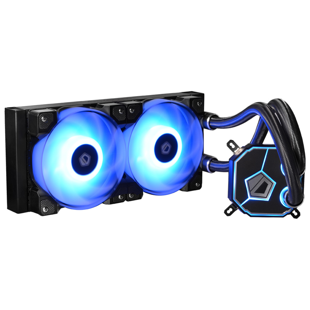 A large main feature product image of ID-COOLING DashFlow 240 RGB AIO CPU Liquid Cooler