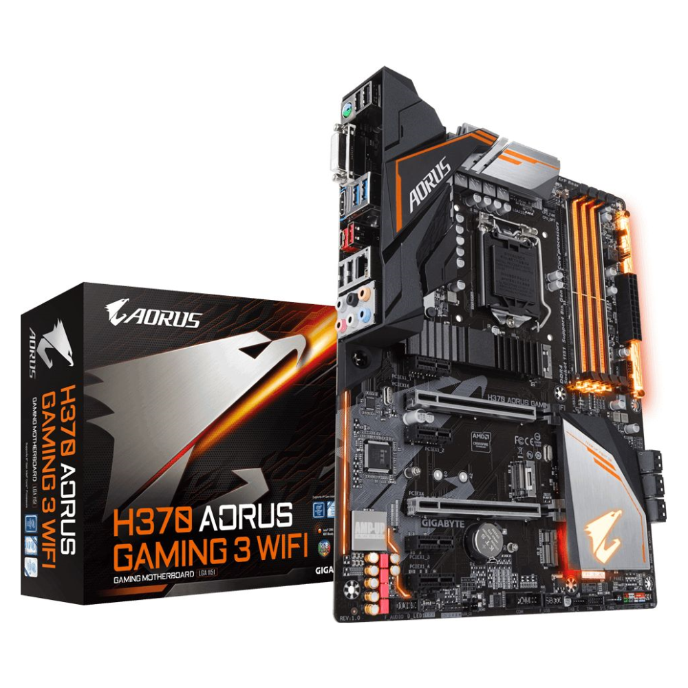 A large main feature product image of Gigabyte H370 Aorus Gaming 3 WIFI LGA1151-CL ATX Desktop Motherboard