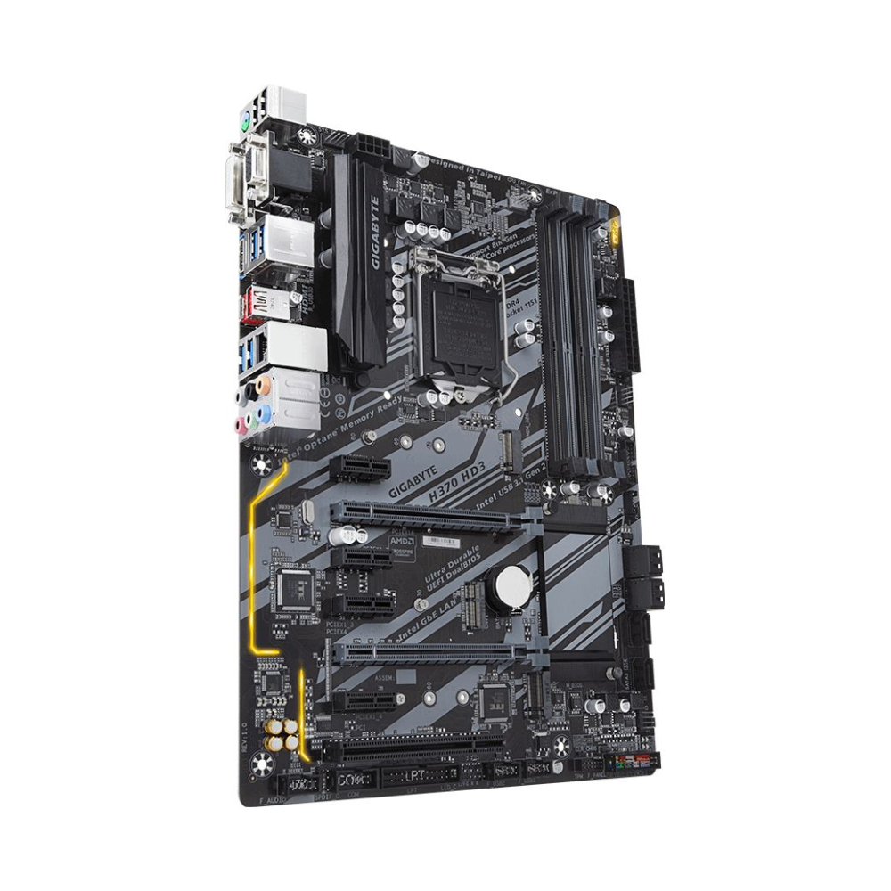 A large main feature product image of Gigabyte H370-HD3 LGA1151-CL ATX Desktop Motherboard