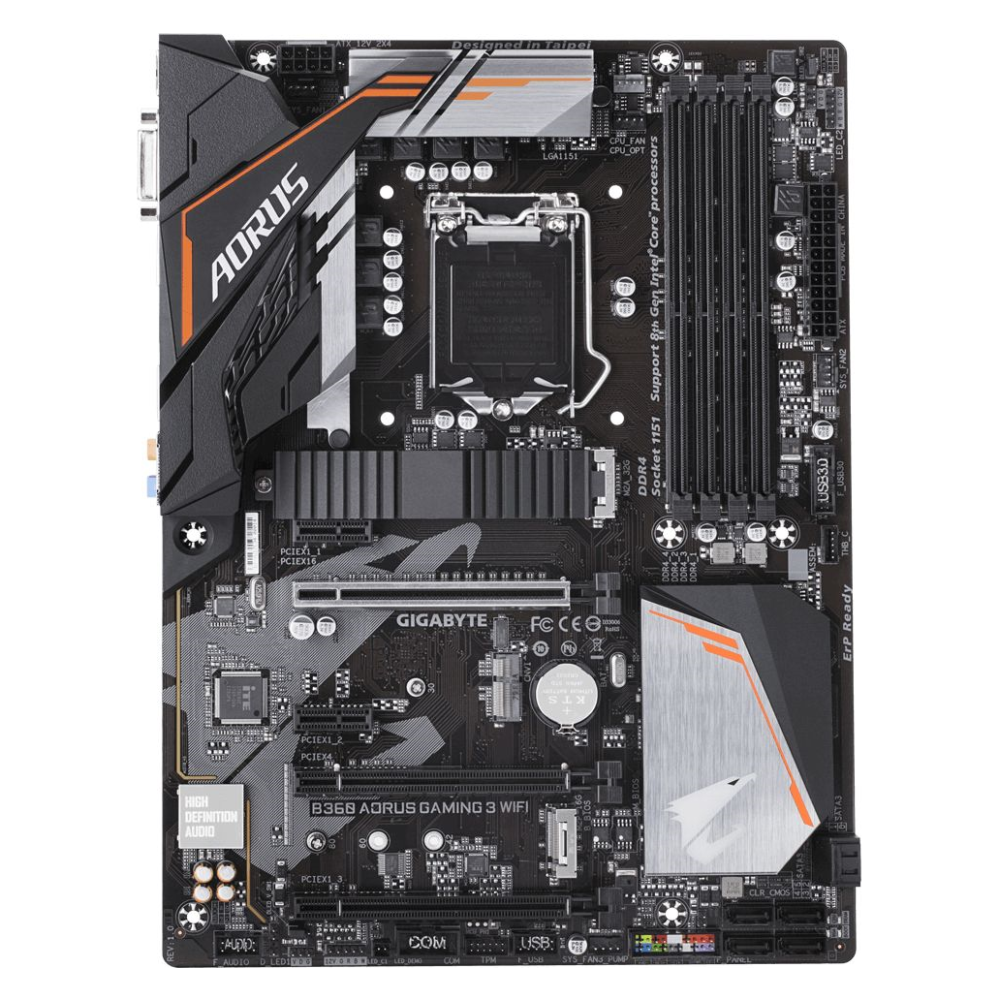 A large main feature product image of Gigabyte B360 Aorus Gaming 3 WIFI LGA1151-CL ATX Desktop Motherboard