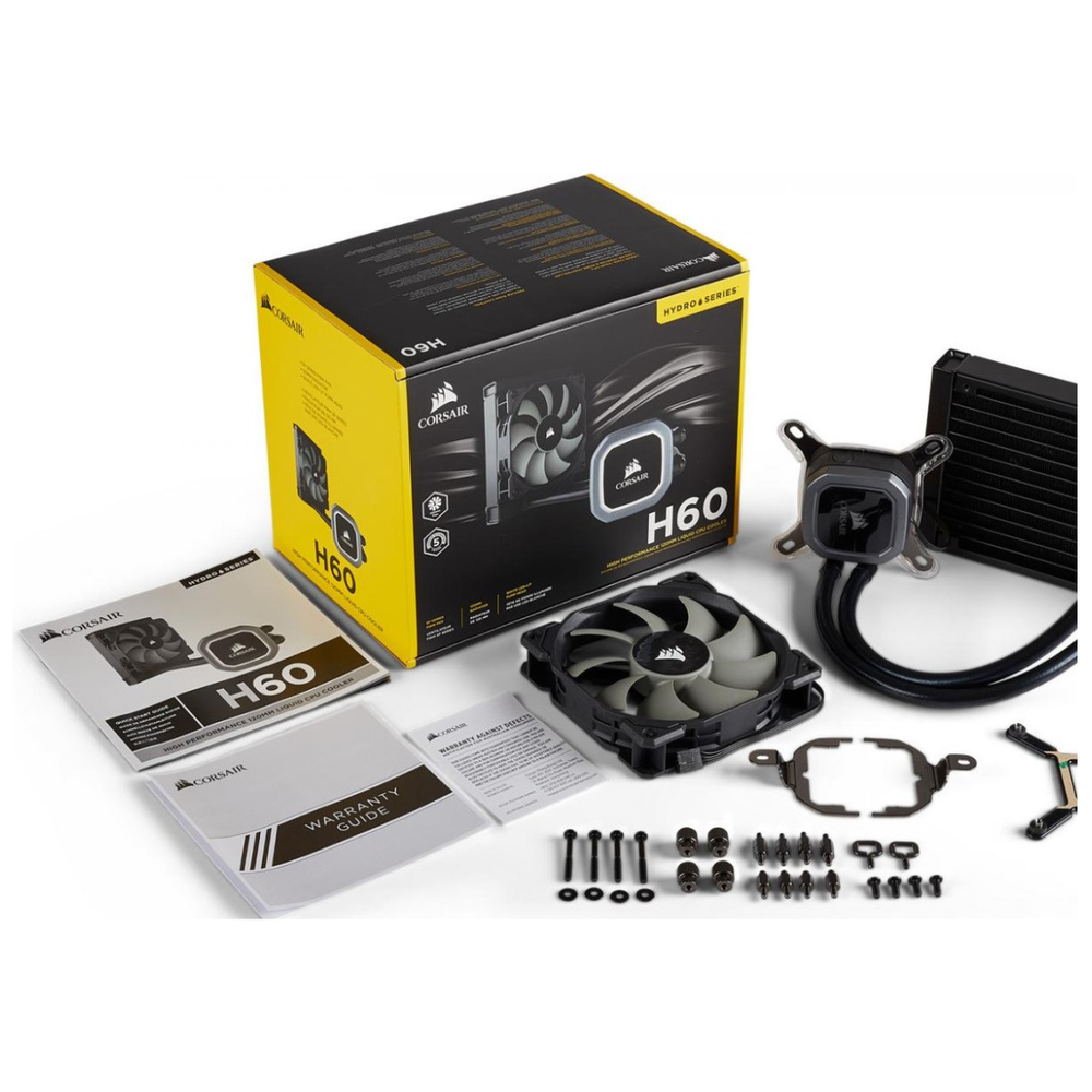 A large main feature product image of Corsair Hydro Series H60 V2 AIO Liquid CPU Cooler